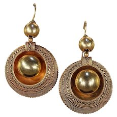 18 Karat Gold Victorian Etruscan Revival Earrings