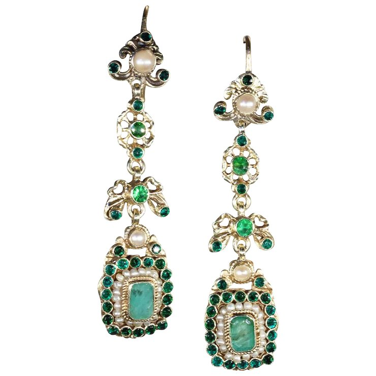 Long Antique Austro Hungarian Pearl And Emerald Earrings C 1900 Silver Gilt
