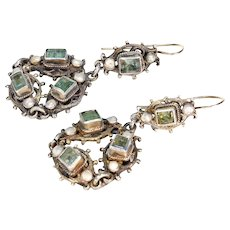 Austro Hungarian Emerald Pearl Earrings Silver Gilt
