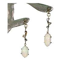 Edwardian Opal Diamond Earrings 18k Gold Drops