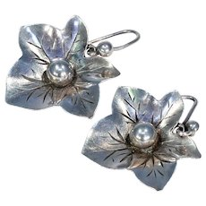 Antique Victorian Ivy Leaf Sterling Silver Earrings