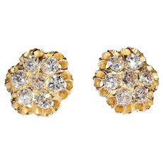 Antique Victorian Diamond Button Earrings in 18k Gold, 2.4 ctw