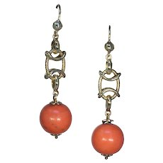 Antique Victorian Coral Gold Earrings 18k Gold