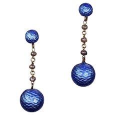 Antique Edwardian Enamel Pearl Drop Gold Earrings