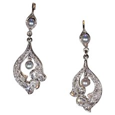 Antique Edwardian Diamond Pearl Earrings 18k Gold Platinum