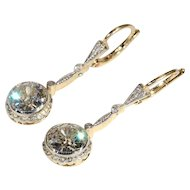 Vintage Art Deco 3.5ctw Diamond Earrings in 14k Yellow and White Gold