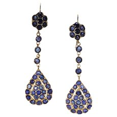 Antique Edwardian Sapphire Drop Earrings 18k Gold