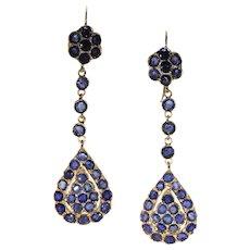 Antique Edwardian Sapphire Drop Earrings 18k Gold
