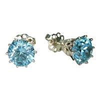 Vintage Blue Zircon Stud Earrings 18k White Gold