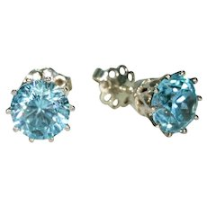 Vintage Blue Zircon Stud Earrings 18k White Gold