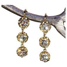 Antique Victorian Triple Diamond Drop Earrings in 18k Gold