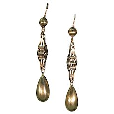 Victorian English Gold Dangle Earrings