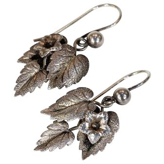 Antique English Silver Leaf Earrings