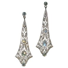 Edwardian Long 3 ctw Diamond Earrings