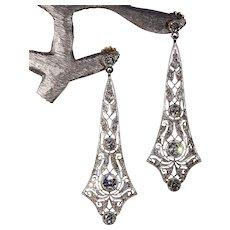 Antique Edwardian Diamond Earrings 2.75cttw Platinum 18k Gold c. 1915