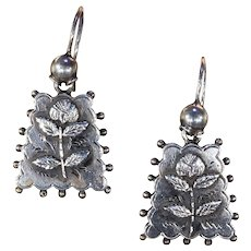 Antique Victorian Silver Flower Drop Earrings