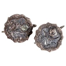 Victorian Silver Rose Earrings Gold Accents