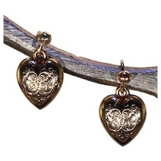 Antique Victorian Engraved Gold Heart Earrings