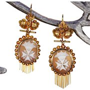 Victorian Maltese Cross Cameo Gold Earrings