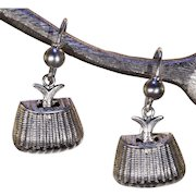 Victorian Creel Basket with Fish Silver Earrings
