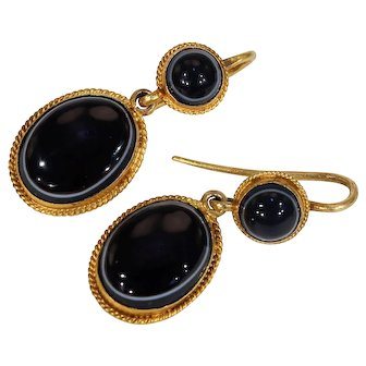 Lovely Victorian Banded Agate Drop Earrings