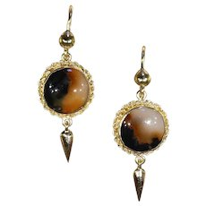 Antique Victorian Agate 15k Gold Drop Earrings