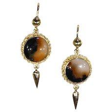 Antique Victorian Agate 15k Gold Drop Earrings