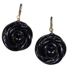 Victorian Love Knot Jet Black Earrings