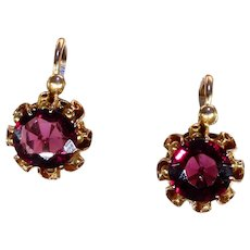 Antique French Garnet Set Gold Earrings Back-to-Front