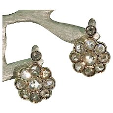 Antique Victorian Rose Cut Diamond Cluster Earrings