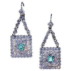 Retro Emerald Diamond Earrings Stunning!