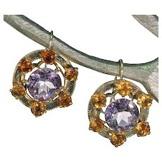 Victorian Scottish Amethyst Citrine Gold Earrings