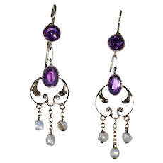 Antique Art Nouveau Amethyst Pearl Earrings Gold