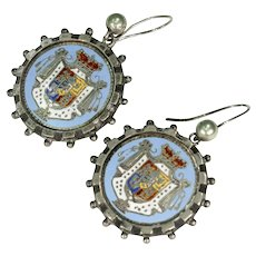 Antique Sterling Silver Enamel Earrings Coat of Arms