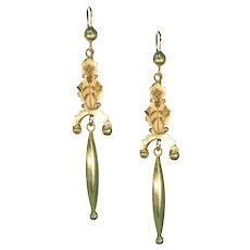 Long Victorian Gold Drop Earrings