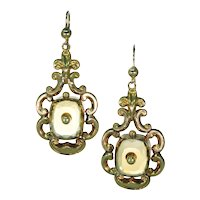 Antique Victorian Citrine Gold Earrings