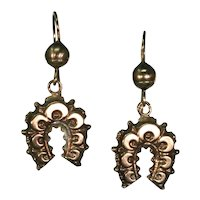Elaborate Rose Gold Victorian Horseshoe Earrings