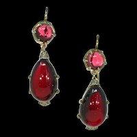 Victorian Garnet Diamond Drop Earrings 15k Gold