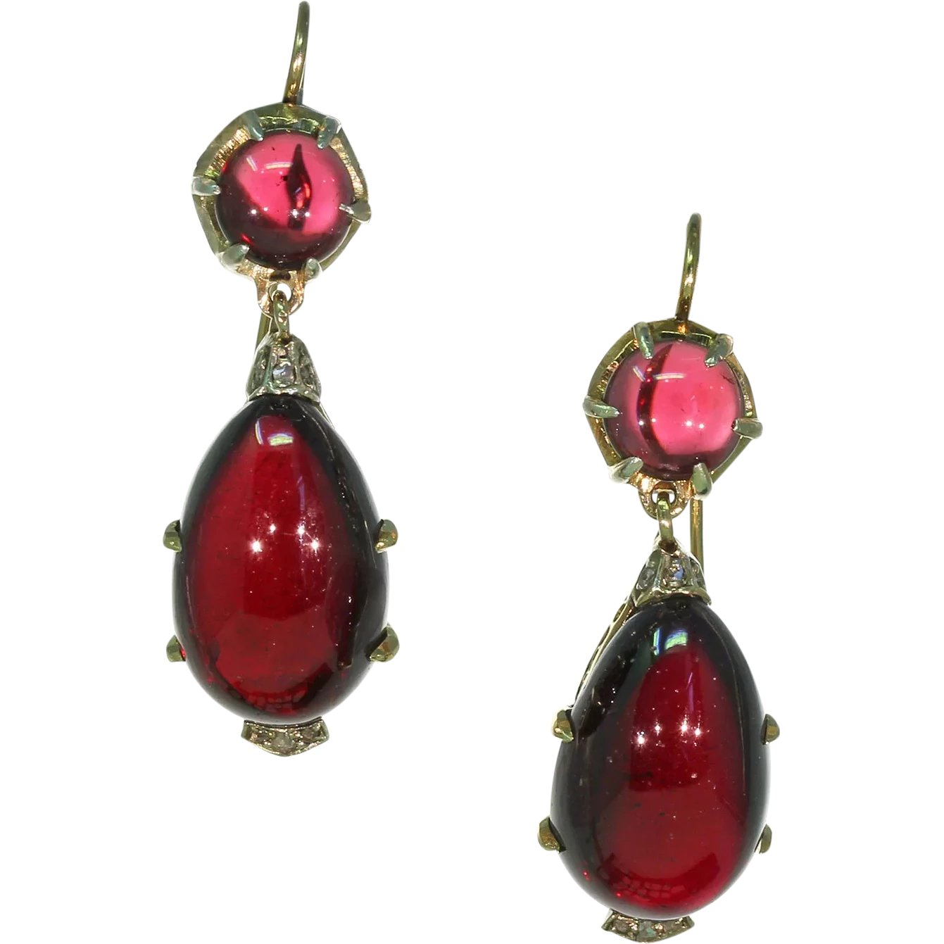 Pave Jewelry,14k Gold Plated 925 Solid Sterling Silver Stud Earrings 0.6 Weight-2.24 Gm PJ-335 Mozambique Garnet Gemstone Victorian Style