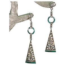 Vintage Art Deco Green Enamel Paste Earrings Silver