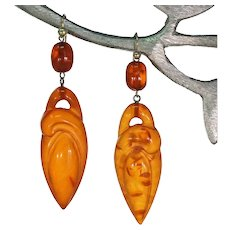 Antique Art Nouveau Carved Amber Earrings Gold Fittings