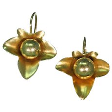 Fantastic Victorian Ivy Leaf Earrings in 15k Gold