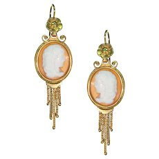Victorian Cameo Ladies Earrings in 18k Gold