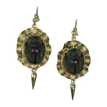 Victorian Scarab Beetle Earrings Gold Etruscan