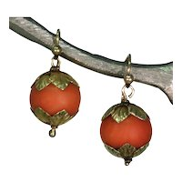 Early Victorian Coral 15k Gold Earrings