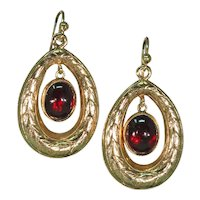 Victorian Garnet Gold Wreath Earrings