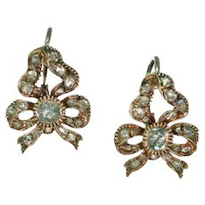French Diamond Bow Earrings 18k Gold Rose Cuts