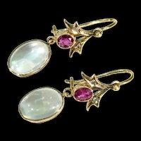 Edwardian Moonstone Garnet Diamond Gold Earrings