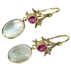 Edwardian Moonstone Garnet Diamond Gold Earrings