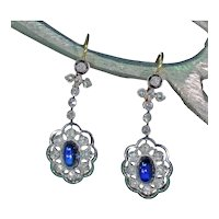 Antique Art Deco Sapphire Diamond Earrings 18k Gold Platinum